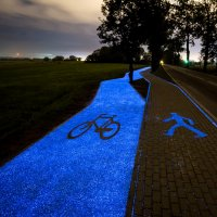 Solar charged glowing bike path