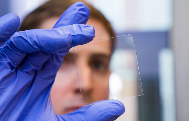 Transparent solar cells power smart windows.