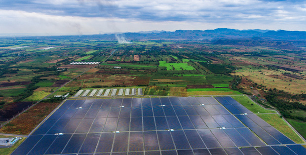 solar panel installation: Solar farm in rural setting