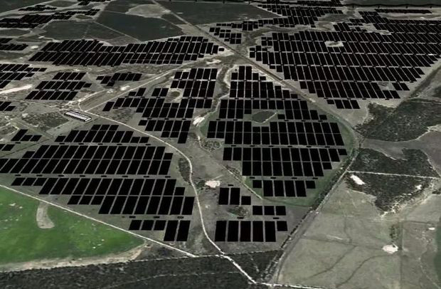 World's biggest solar farm : A projection of the Bulli Creek Solar Farm.