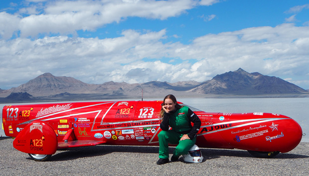 Eva Hakansson, the world's fastest woman on a motorcycle, who will be speaking at the EV Expo. Here she is with KillaJoule, the electric vehicle she rode to break the speed record. Photo: John Baechtel
