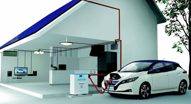 Vehicle to grid: The new Nissan Leaf can store energy and feed it back into the home.