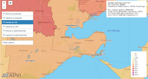 Geelong solar power use map