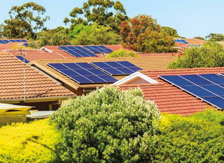 Energy efficient housing benefits from solar panels like these