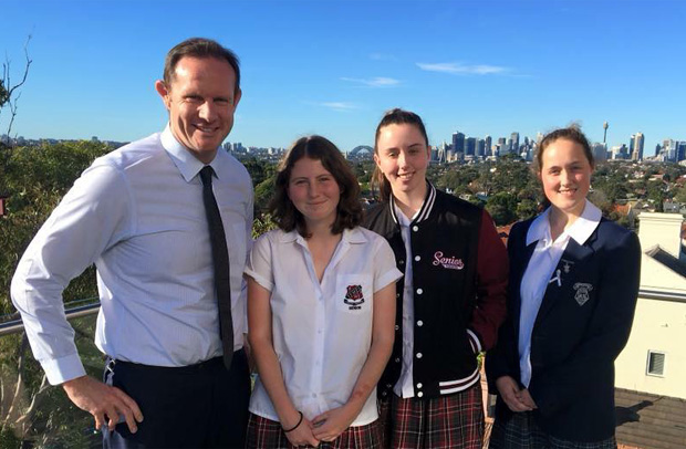 inner west solar: Members of the Sydney Student Leaders Coalition with Mayor Darcy Byrne.