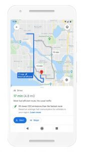 Google Maps eco-friendly travel